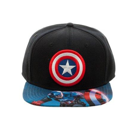 3c024d7894be6 Bioworld Licensed Captain America - Marvel Comics Sublimated Brim  Blue Black Snapback Hat - image ...