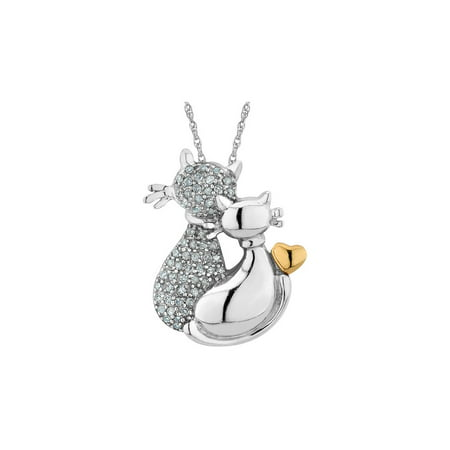 Diamond Cat Pendant Necklace in Sterling Silver with 14K Yellow Gold with Chain - image 1 de 1