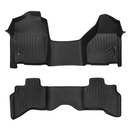 Maxliner 2012-2018 Dodge Ram 1500 Quad Cab With 1st Row Bench Seat and Front Dual Floor Hooks Floor Mats 2 Row Set Black A0319/B0048 (First Row Seats)