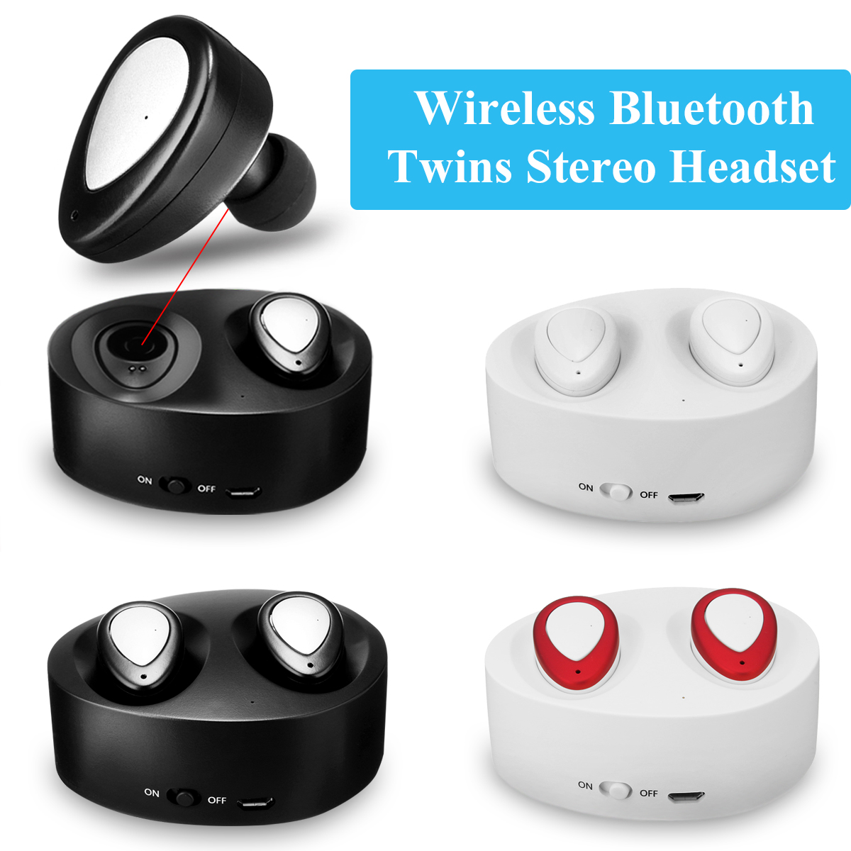 TWS bluetooth Earbud Mini Wireless Headset Stereo In-ear Earphone with Mic & Charging Box for Hands-Free Calling Sport Smartphones