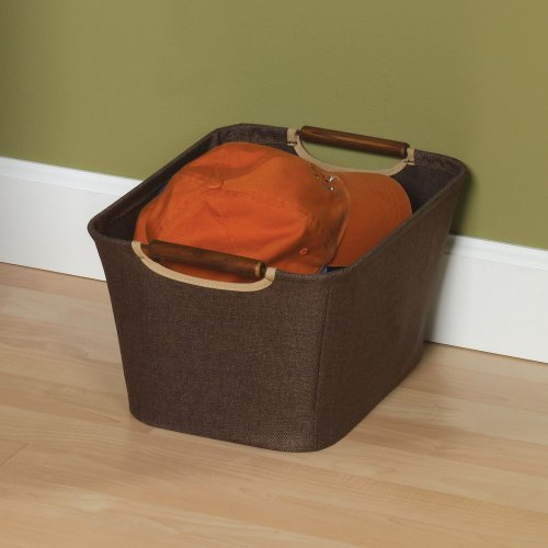 13 in. Coffee Linen Bin with Wood Handles