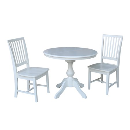 36 Round Dining Table With 12 Leaf And 2 Mission Chairs White 3 Piece Set