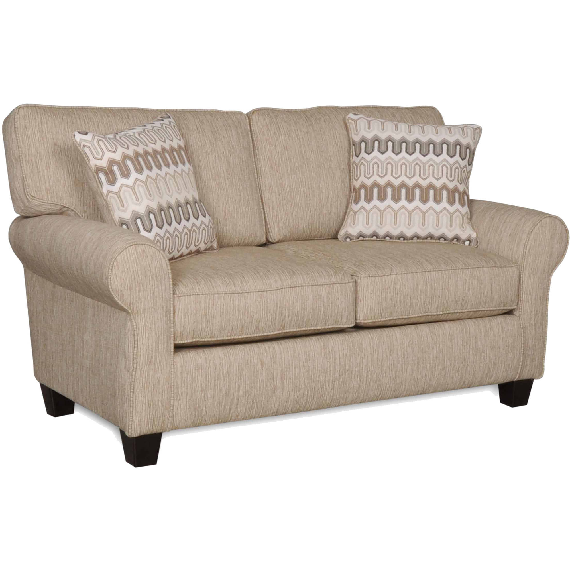 SoFab Erin Cafe Almond Love Seat with 2 Reversible Accent Pillows