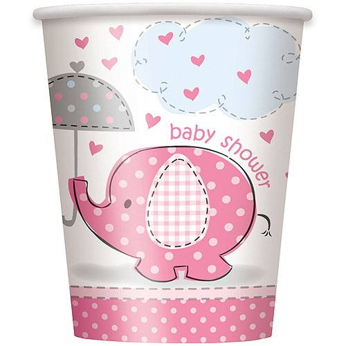 Paper Elephant Baby Shower Cups, 9 oz, Pink, 8ct