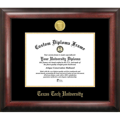 "Texas Tech University 11"" x 14"" Gold Embossed Diploma Frame"