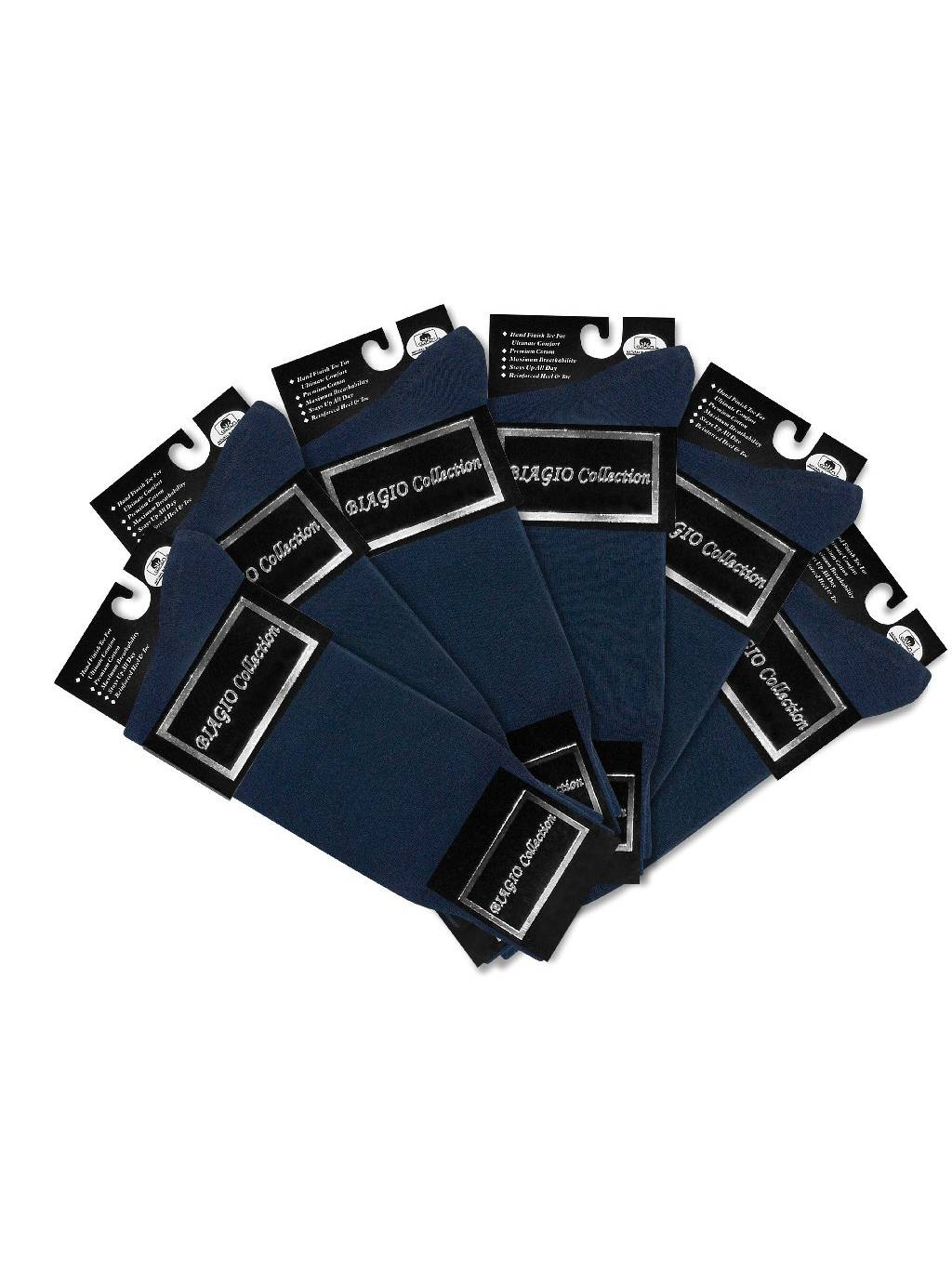 6 Pair of Biagio Solid NAVY BLUE Color Men's COTTON Dress SOCKS