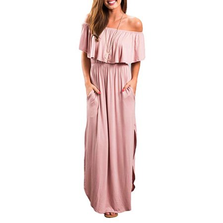 Womens Off The Shoulder Ruffle Party Dress Casual Side Split Beach Long Maxi Dresses with Pockets - Pink Wonder Woman
