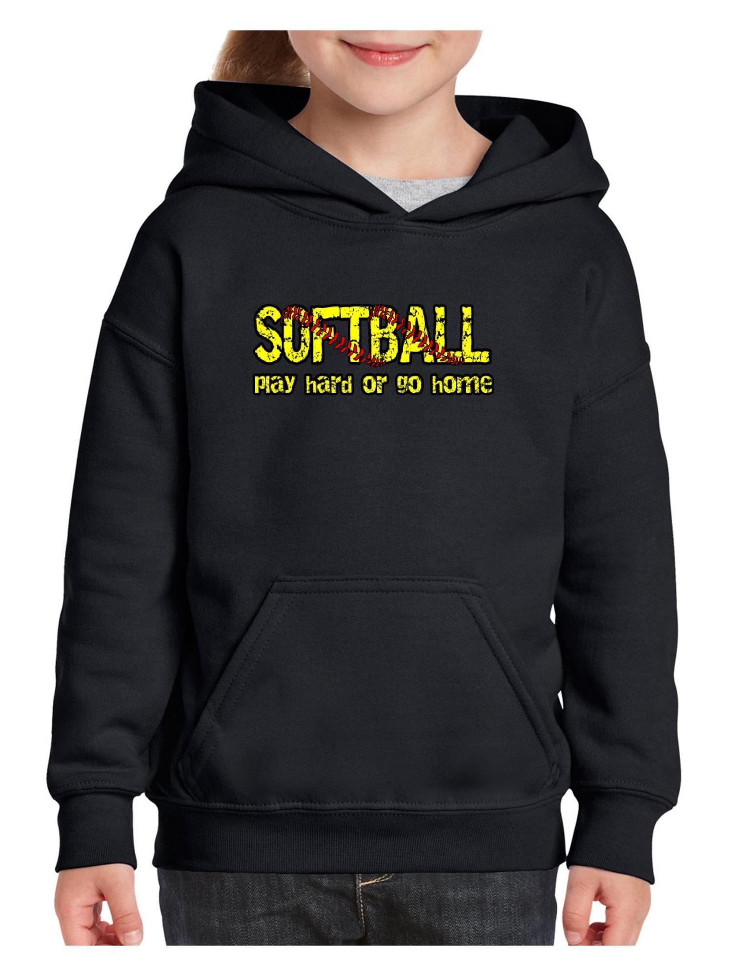 Softball Play Hard or Go Home Unisex Hoodie For Girls and Boys Youth Sweatshirt