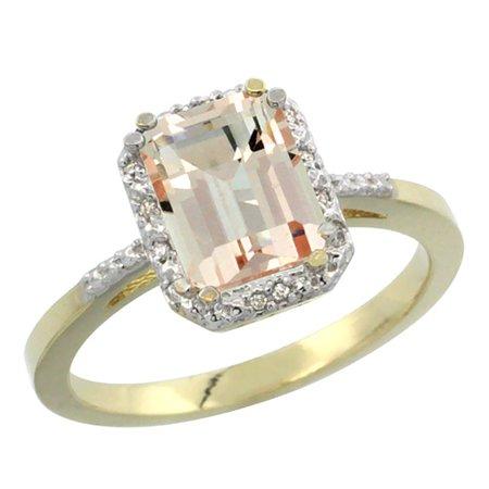 10K Yellow Gold Natural Morganite Ring Emerald Shape 8X6mm Diamond Accent  Sizes 5 10