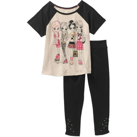 365 Kids from Garanimals Girls' Short Sleeve Baseball Tee and Solid Cinched Leggings Outfit Set