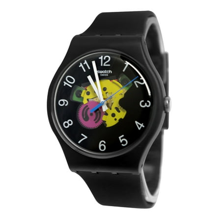 Swatch SUOB140 Patchwork Yellow Pink Transparent Dial Black Silicone Band Watch Dial Black Silicon Band