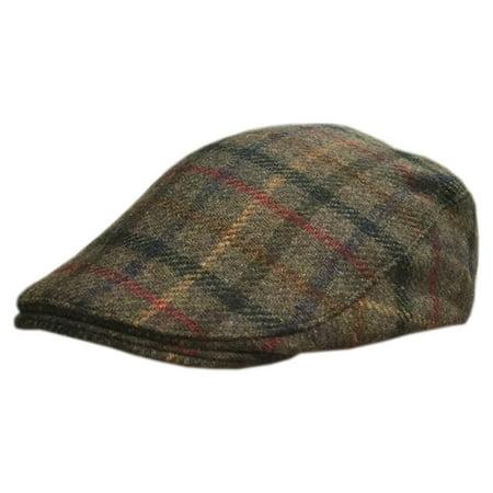 Donegal Flat Cap, Traditional Irish Tweed Hat, Plaid, XX_Large