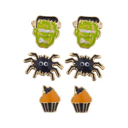 Lux Accessories Halloween Frankenstein Spider Cupcake Earring Stud Set - Frankenstein Halloween Cupcakes