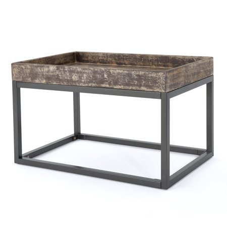 Halo Finished Faux Wood Coffee Table with Iron Frame, Rustic and - Iron Coffee Table