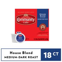 Community Coffee House Blend Medium-Dark Roast Coffee Single-Serve Cups 18 ct Box Compatible with Keurig 2.0 K-Cup Brewers