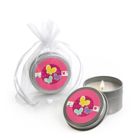 Playful Butterfly and Flowers - Candle Tin Party Favors (set of 12) - Butterfly Party Favors