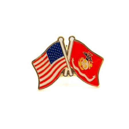 US Marine Corps USMC EGA Flag And USA Flag Crossed Lapel Hat Pin Military PPM642