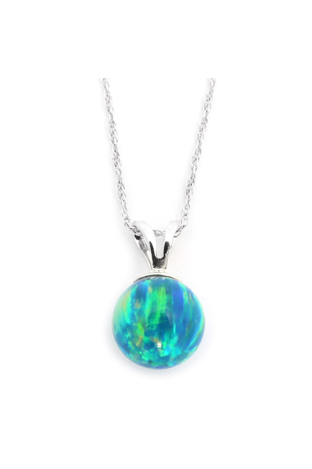 """14k Yellow or White Gold 8mm Green Simulated Opal Pendant Necklace, 13"""" 15"""" 16"""" 18"""" 20""""... by"""