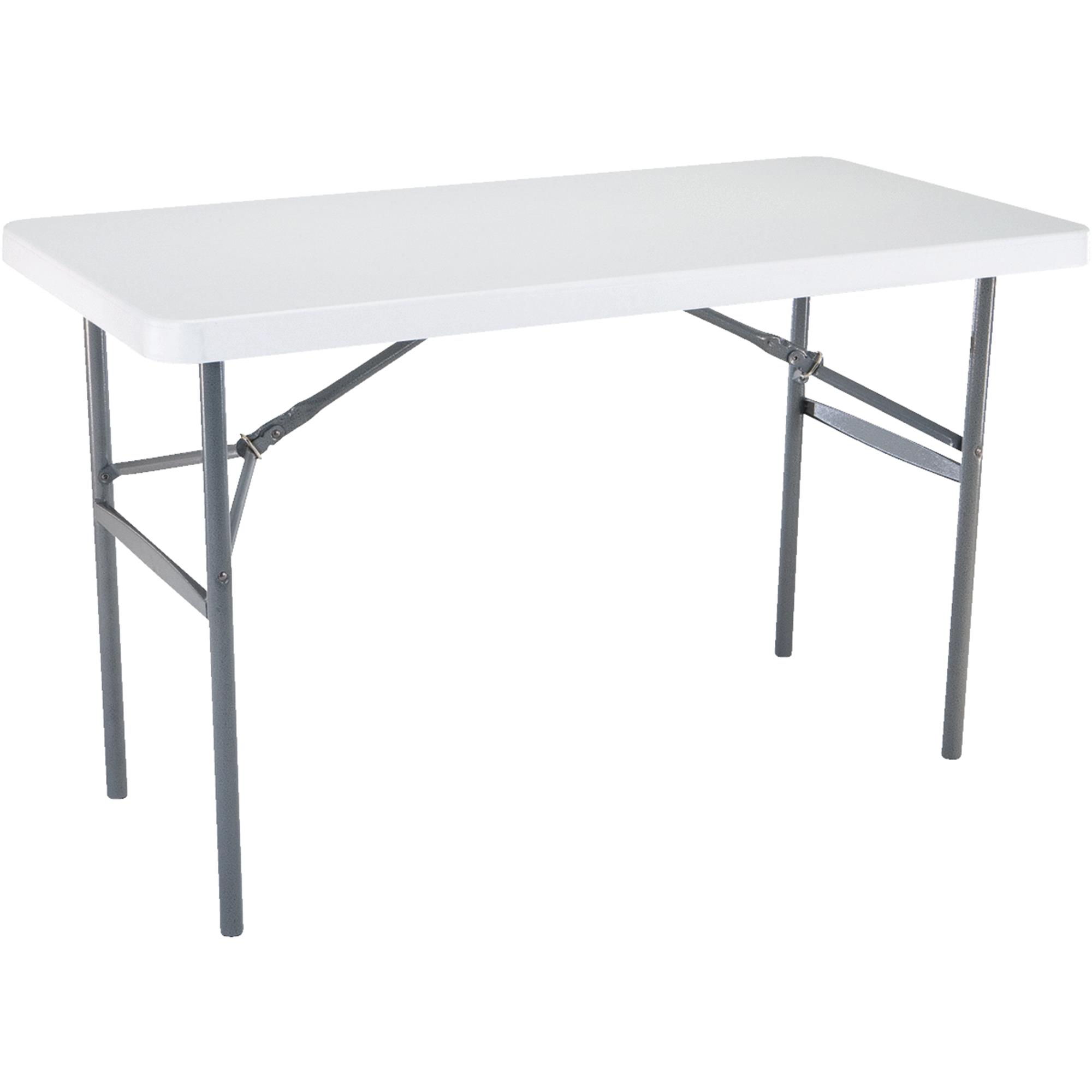 lifetime 4-foot folding table, light commercial, white granite