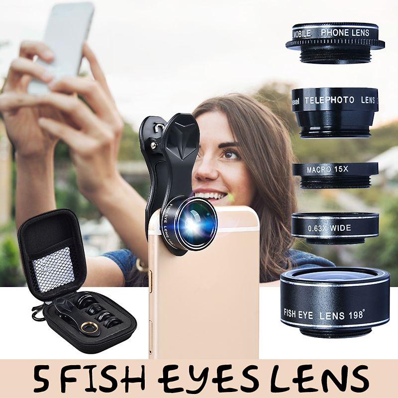 APEXEL 5 In 1 Mobile Phone Camera Lens Kit CPL Len Zoom Len Fish Eye Wide Angle+15x Micro Combination Lens with Clip
