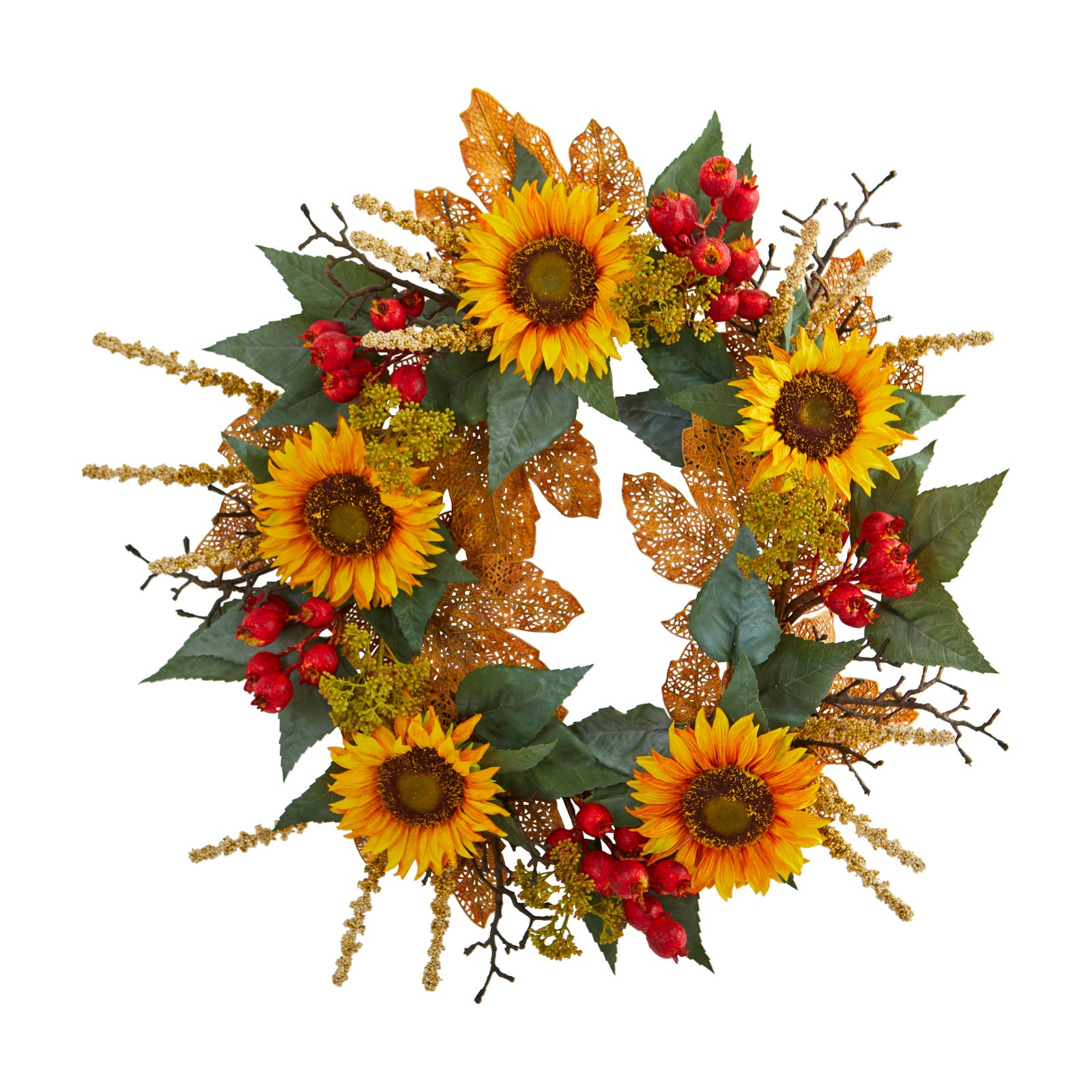Nearly Natural 27 In. Sunflower Berry Artificial Wreath