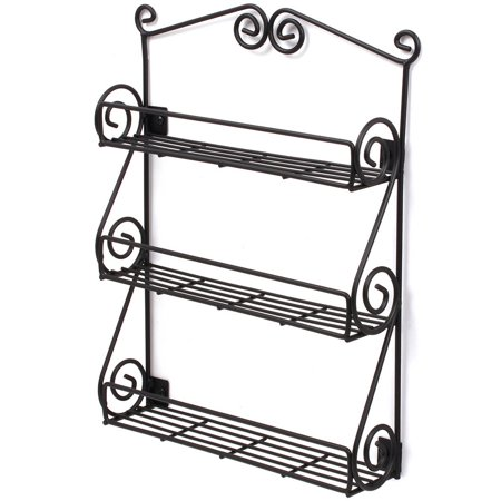 Scroll Wall Mount Spice Rack Black - Scroll Wall Mount Spice Rack Black - Walmart.com