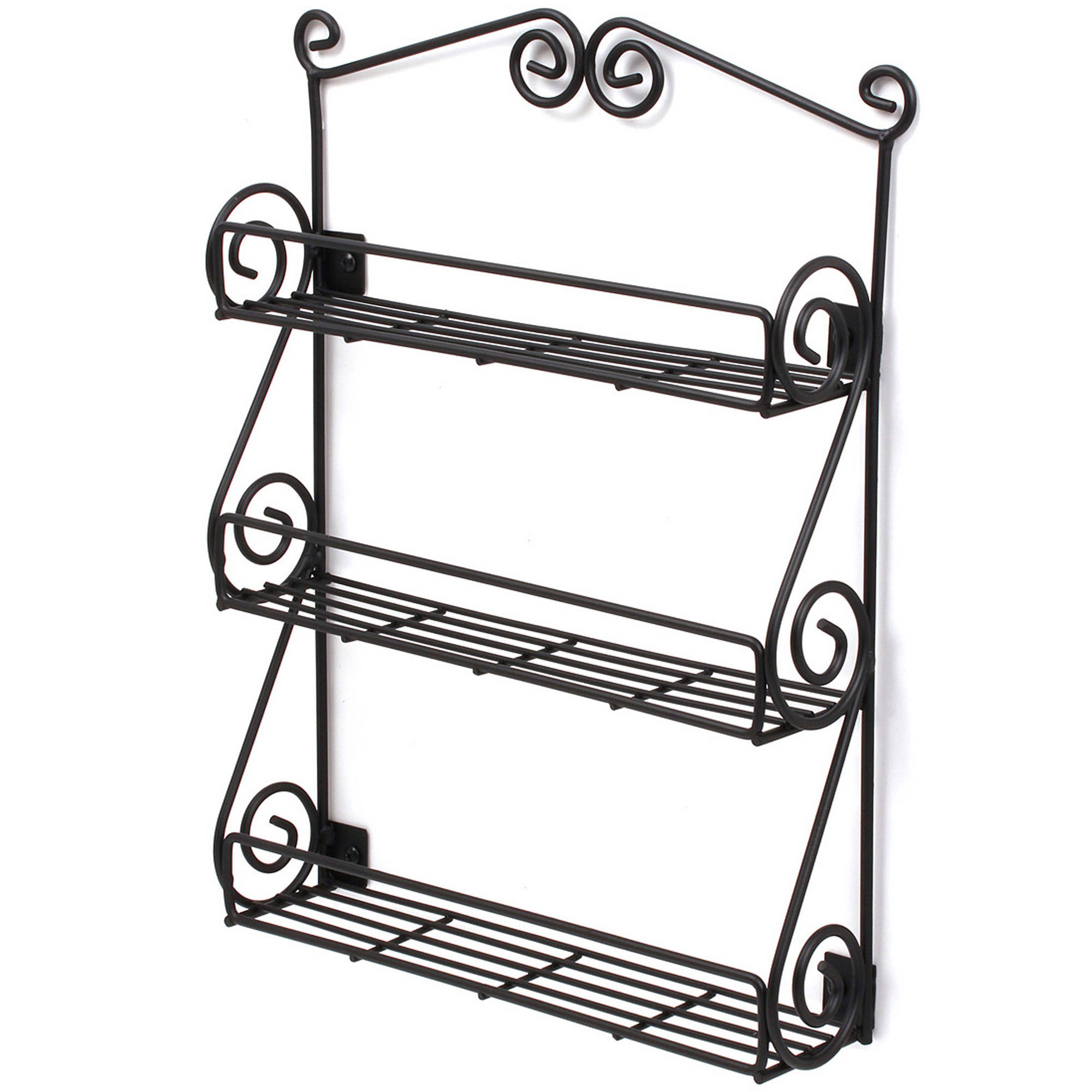 Scroll Wall Mount Spice Rack Black