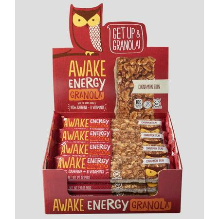 AWAKE Energy Granola Bars, Cinnamon Bun, 1.41 Oz, 16 Ct