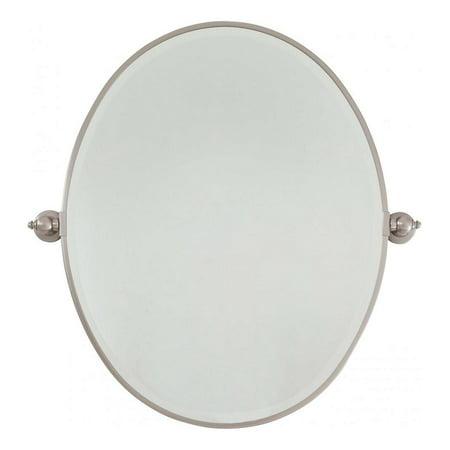 Brushed Nickel Standard Oval Pivoting Bathroom Mirror ...