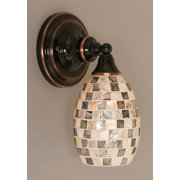 11 in. Wall Sconce w Seashell Glass Shade