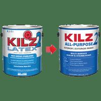 KILZ 2 Interior/Exterior Multi-Surface Primer, Sealer & Stainblocker, White, Water-Based - New Look, Same Trusted Formula