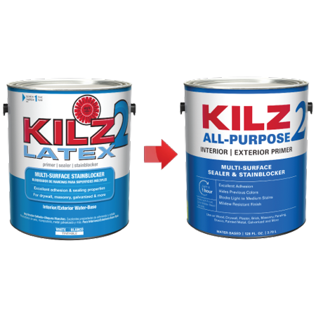 KILZ 2 Interior/Exterior Multi-Surface Primer, Sealer & Stainblocker, White, Water-Based - New Look, Same Trusted