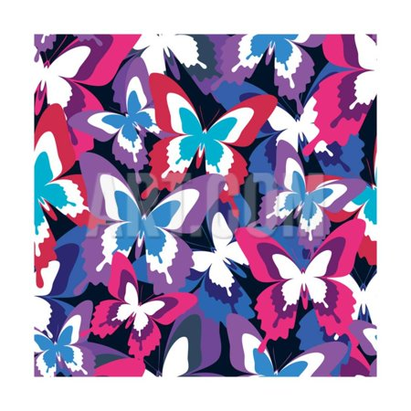 Beautiful Seamless Pattern with Colorful Butterflies Print Wall Art By silvionka (Beautiful Wall Pattern)