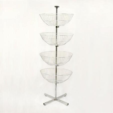 63'' High Basket Spinner Clothes Rack Storage Display Fixture  Dump Bin 22'' Wide Baskets Dump Bin