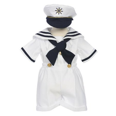 Baby Boys White Shorts Shirt Sailor Hat Outfit 3-24M