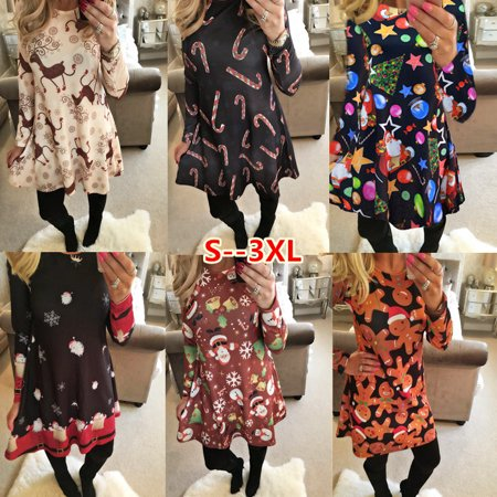 Long Sleeve Xmas Womens Dress Santa Christmas Party Swing Flared Skater Dresses Top 4-18](Christmas Themed Dresses)