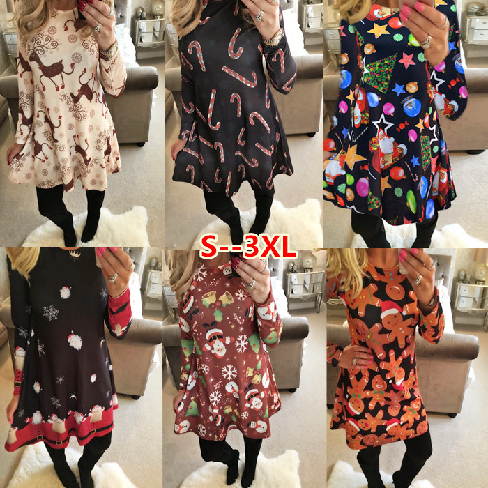 Long Sleeve Xmas Womens Dress Santa Christmas Party Swing Flared Skater Dresses Top 4-18