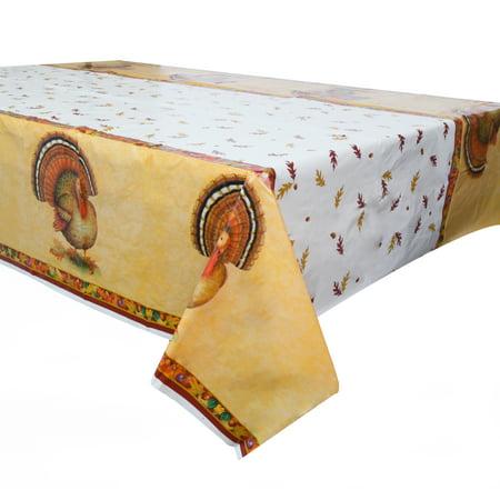 Festive Turkey Thanksgiving Plastic Tablecloth, 84 x 54 in, 1ct