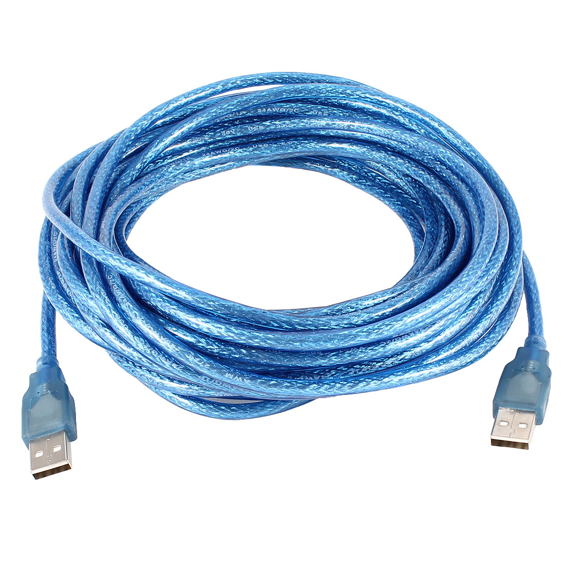Unique Bargains Blue Plastic Coated USB 2.0 Male to Male Transfer Extension Cable 10M 33ft