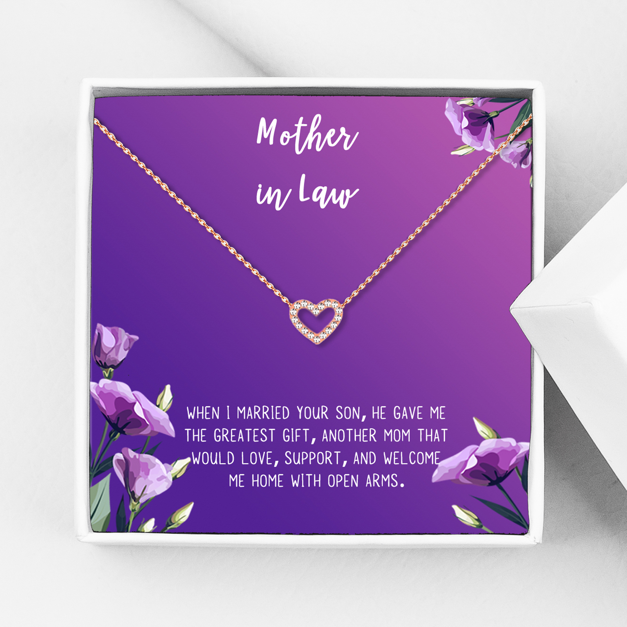 MOTHER Of The GROOM Gift From Bride Mother-In-Law Present Dainty Necklace On Personalized Card With Quote Mother In Law Gift Wedding Day