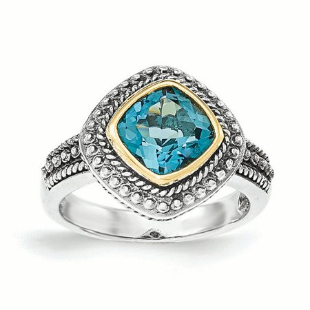 14k Yellow Gold w/Sterling Silver London Blue Topaz Ring LAL93304