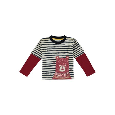 Coyote & Co. Toddler Boy Bear Stripe Long Sleeve T-shirt (Bears Long Sleeve Layered Tee)