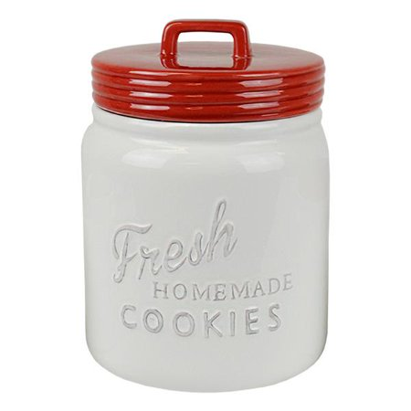 Design Imports Kitchen Red White Ceramic Cookie Jar Canister With Lid