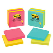 """Post-It Pop-up Notes, 3"""" x 3"""", Cape Town Assorted Colors, 4 Pads/Pack"""