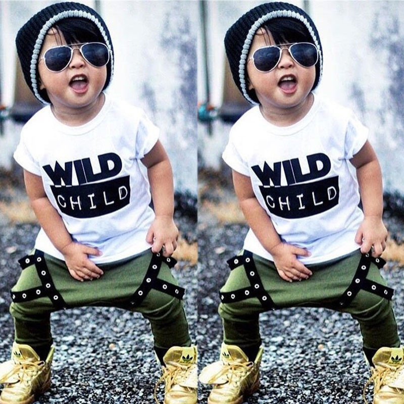 2pcs Newborn Toddler Kids Baby Boys Clothes Outfits T-shirt Tops+ Long Pants Set