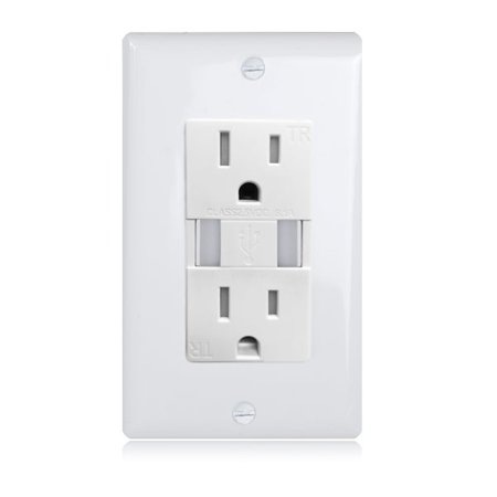 Maxxima 3.1A High Speed Dual USB Outlet Charger 15 Amp Duplex Receptacle, Tamper Resistant, Wall Plate - Travel Smith Outlet