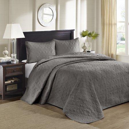 Vancouver Queen 3pc Reversible Bedspread Set Dark Gray
