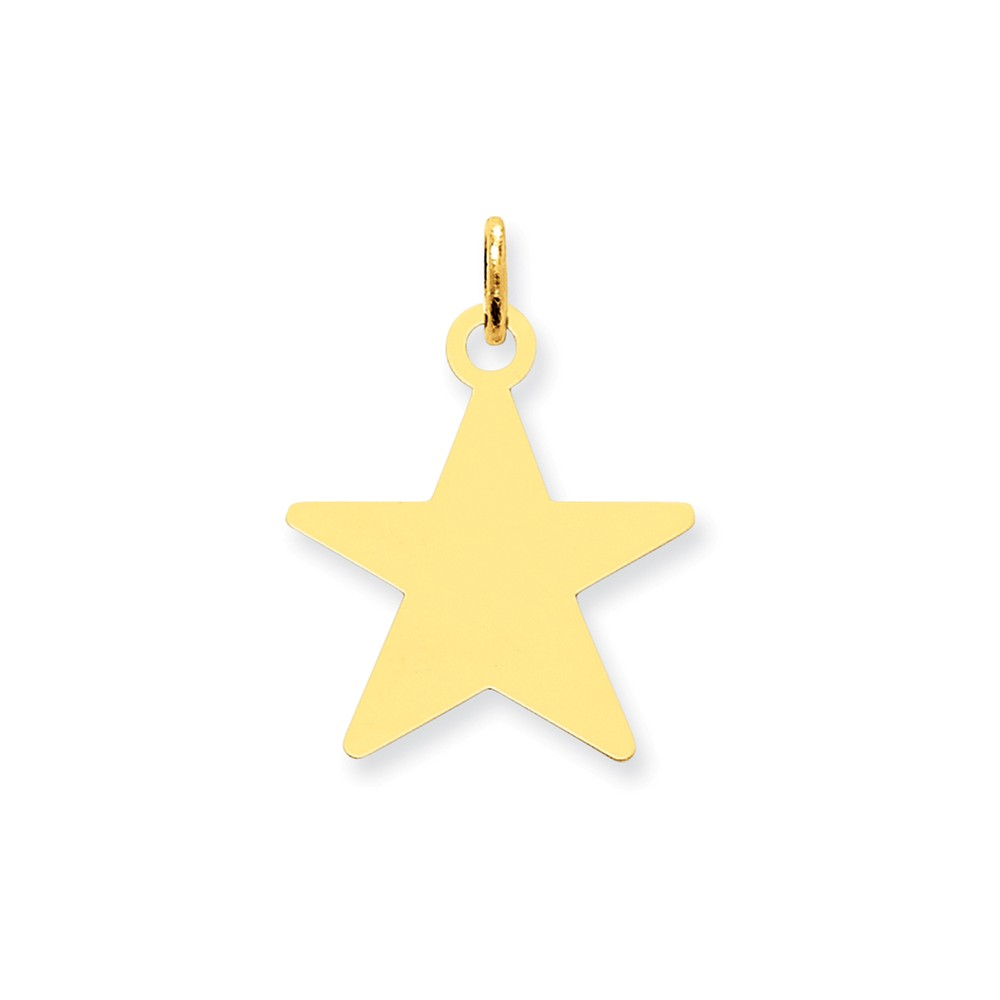 14k Yellow Gold Engravable Polished Star Disc Charm (1in long x 0.7in wide)
