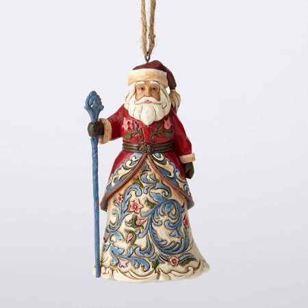 "Swiss Santa Stone Resin Hanging Ornament, 4.5"", ""Swiss Santa"" hanging ornament from the Jim Shore Heartwood Creek collection By Jim Shore Heartwood Creek,USA"