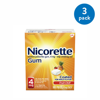 (3 Pack) Nicorette Nicotine Gum, Stop Smoking Aid, 4 mg, Fruit Chill Flavor, 100 count